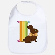 Letter I Chocolate Easter Bunny Bib