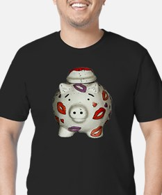 Funny Red pig Men's Fitted T-Shirt (dark)