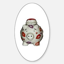 Cute Piggy bank Sticker (Oval)