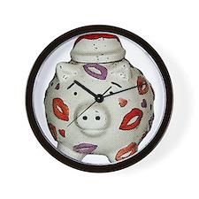 Adorable Lipstick Pig With Newsprint Ef Wall Clock