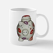 Adorable Lipstick Pig With Newsprint Effect Mugs