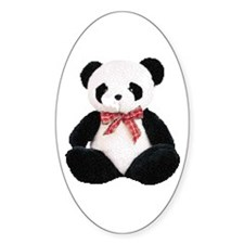 Cute Stuffed Panda Oval Decal