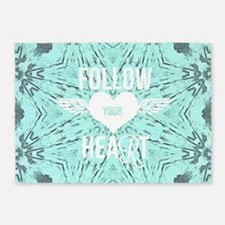 follow your heart positive 5'x7'Area Rug