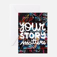 your story matters graffiti hip hop Greeting Cards