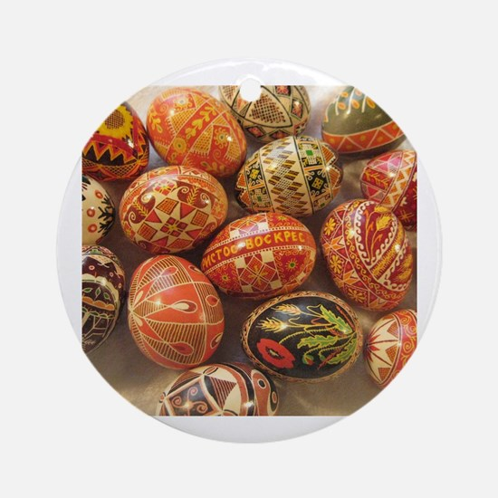Unique Ukrainian easter egg Round Ornament