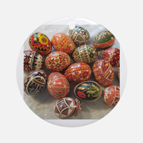 Cute Ukrainian easter egg Round Ornament