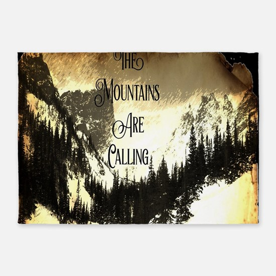 vintage mountains are calling 5'x7'Area Rug