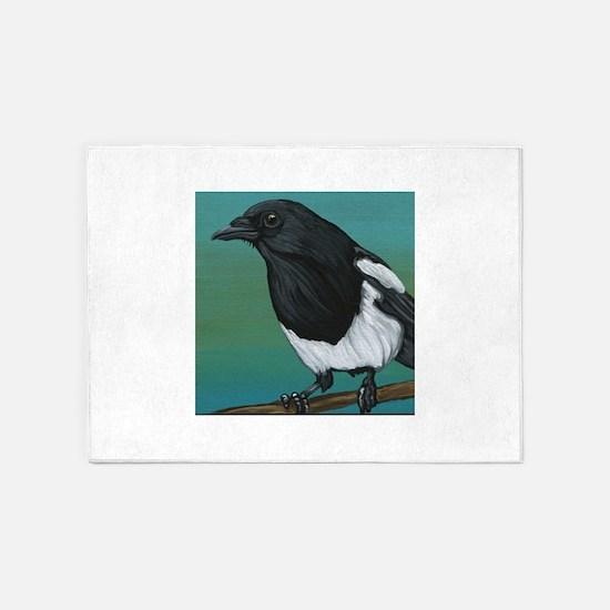 Magpie Crow Bird Wildlife 5'x7'Area Rug