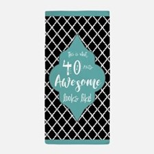 Black and Turquoise Moroccan Quatrefoi Beach Towel
