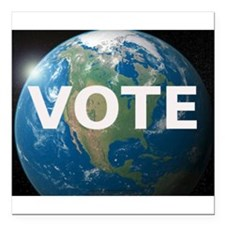 "EARTHVOTE Square Car Magnet 3"" x 3"""