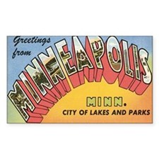 Minneapolis Postcard Rectangle Decal