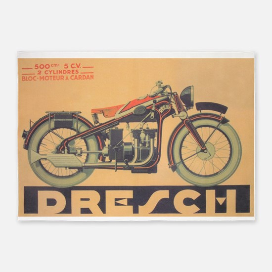 Vintage Motorcycle, Drench; Adverti 5'x7'Area Rug