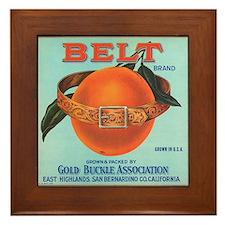 Vintage Belt Oranges Fruit Cr Framed Tile