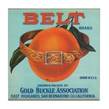 Vintage Belt Oranges Fruit Cr Tile Coaster