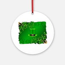 Saint patricks day hat and shillela Round Ornament