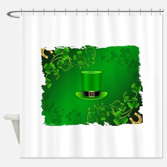 Saint patricks day hat and shillela Shower Curtain