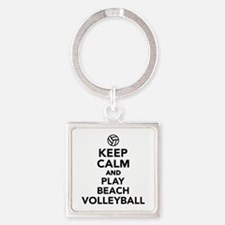 Keep calm and play Beachvolleyball Square Keychain