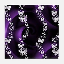 Purple Butterfly Swirl Tile Coaster
