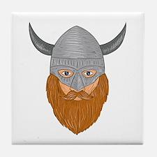 Viking Warrior Head Drawing Tile Coaster