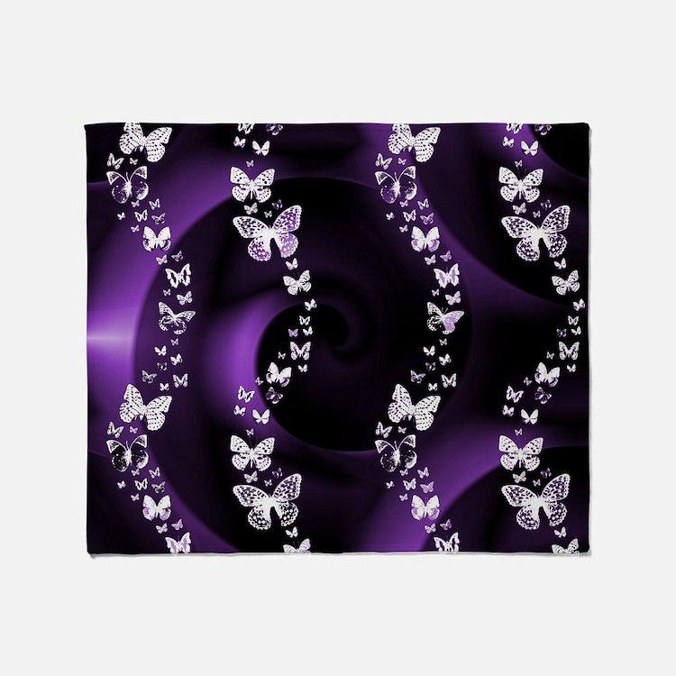 Purple Butterfly Swirl Throw Blanket