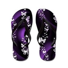 Purple Butterfly Swirl Flip Flops