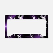 Purple Butterfly Swirl License Plate Holder