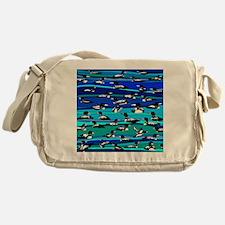 Loons on blue Messenger Bag