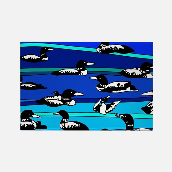 Loons on blue Rectangle Magnet (100 pack)