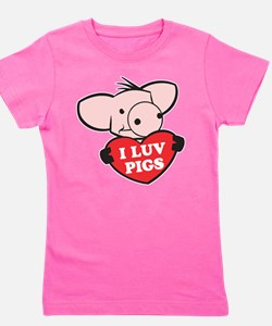 I Luv Pigs Girl's Tee