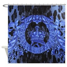 Baroque Crown Blue Shower Curtain