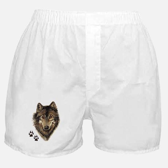 Watercolor Wolf Head Logo & Tracks Boxer Shorts