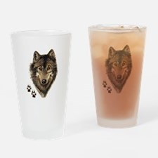 Watercolor Wolf Head Logo & Tracks Drinking Glass