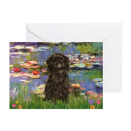 Monet's Lilies & Affenpinsche Greeting Cards (Pack