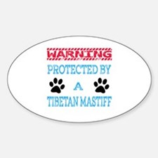 Warning Protected by a Tibetan Mast Sticker (Oval)