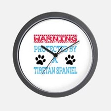 Warning Protected by a Tibetan Spaniel Wall Clock