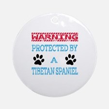 Warning Protected by a Tibetan Span Round Ornament