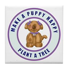 Make A Puppy Happy Tile Coaster