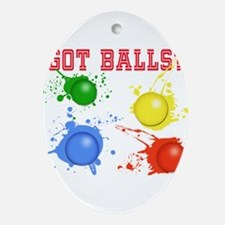 Splattered Paint Balls Oval Ornament