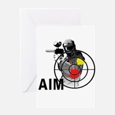 Paintball Shooter Gun Sight Aim Greeting Cards
