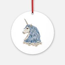 White Unicorn Drawing Round Ornament