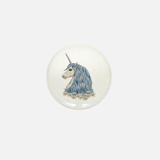 White Unicorn Drawing Mini Button