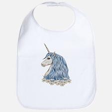 White Unicorn Drawing Bib