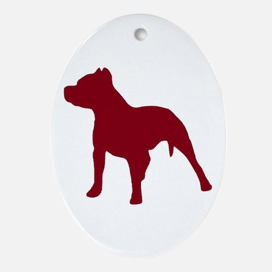Pitbull Dk Red 1C Oval Ornament
