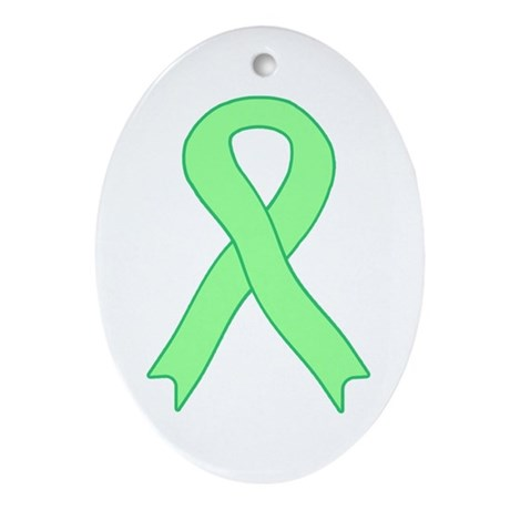 Light Green Ribbon Oval Ornament