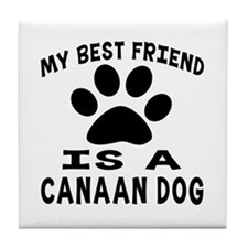 Canaan Dog Is My Best Friend Tile Coaster