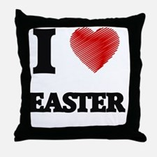 I love EASTER Throw Pillow