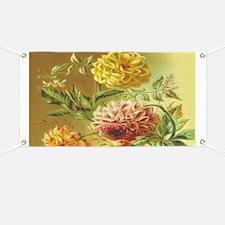 Jasmine Dahlia Vintage Flowers Banner