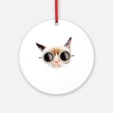 Coffee Cat Round Ornament