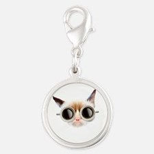 Coffee Cat Silver Round Charm