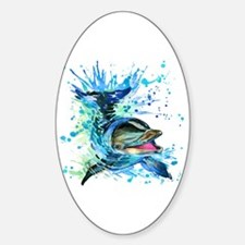 Watercolor Dolphin Sticker (Oval)